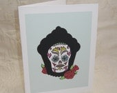 Day of the Dead Cupcake Note Card Aqua