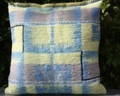 RESERVED  blue, yellow grey woolen pillow
