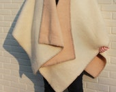 great beige- brown poncho, shrug. wearable at both sides
