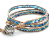 Triple Wrap Beaded Leather Bracelet