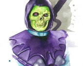 Masters of the Universe Classics watercolor art print:  Skeletor
