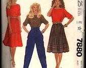 Vintage 1982 McCall's Liz Claiborne Misses' Pants and Top Pattern 7880 Size 8 Bust 31 1/2