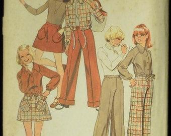 Vintage 1973 Simplicity Girls' Shirt Jacket, Short Skirt and Pants Pattern 5878 Size 14