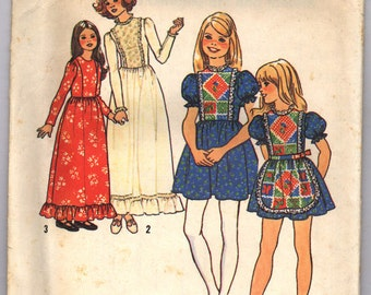 Vintage 1975 Simplicity Girls' Dress in Two Lengths and Apron Pattern 7242 Sizes 12 and 14 UNCUT