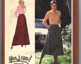 Vintage 1978 Simplicity Misses' Skirt in Two Lengths Pattern 8744 Size 12