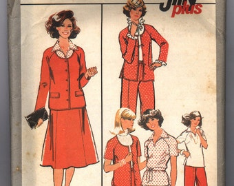 Vintage 1977 Simplicity Women's Jiffy Plus Unlined Jacket, Pullover Top and Skirt Pattern 8396 Size 42 44
