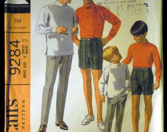 Vintage 1968 McCall's Boy's Shirt, Pants and Shorts Pattern 9284 Size 14 Chest 32 UNCUT