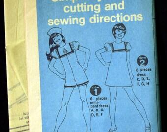 Vintage 1972 Simplicity Girl's Mini Pantdress or Dress Pattern 5107 Size 10 UNCUT