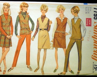 Vintage 1968 Simplicity Misses' Jumper or Top, Skirt and Pants Pattern 7795 Size 14 Bust 36