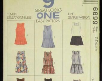 McCall's Toddler Girl's Jumper & Split- Skirt Jumper Easy 9 Great Looks One Easy Pattern 6699 Size 2, 3, 4