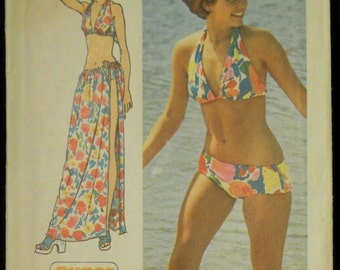 Vintage 1973 Simplicity Misses' Bikini and Long Wrap Skirt Pattern 5644 Size Small 8, 10