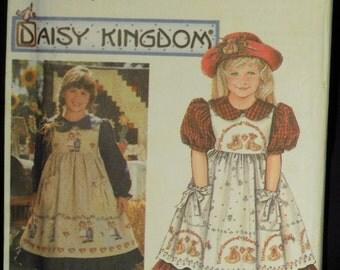 Simplicity Girls' Daisy Kingdom Dress and Pinafore Pattern 9977 Sizes 3, 4, 5, 6 UNCUT