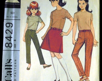 Vintage 1966 McCall's Girl's Separates: Blouse, Skirt and Pants Pattern 8429 Size 8