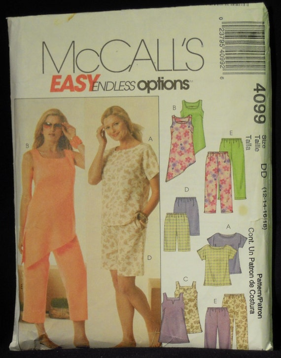 McCall's Misses' Top, Tunic, Shorts and Capri Pants Pattern 4099 Sizes 12, 14, 16, 18