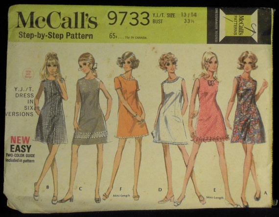 Vintage 1969 McCall's Young Juniors' Teen A Line Mini Dress in Six Styles Pattern 9733 Size 13, 14 UNCUT