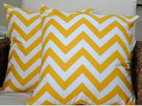 Cheery Yellow Chevron - (2) 18x18 Pillow Covers