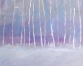 Original Acrylic Painting,Winter Blue Birch Abstract Landscape, Free Shipping