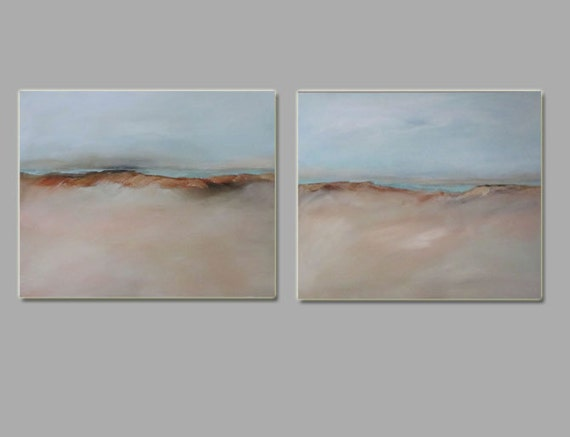 Temporarily Reserved for M. Painting Acrylic Original, Smokey Dune Beach Set of Two - Abstract Seascape, Free Shipping