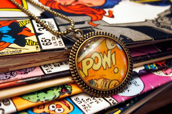 POW Recycled vintage comic book necklace