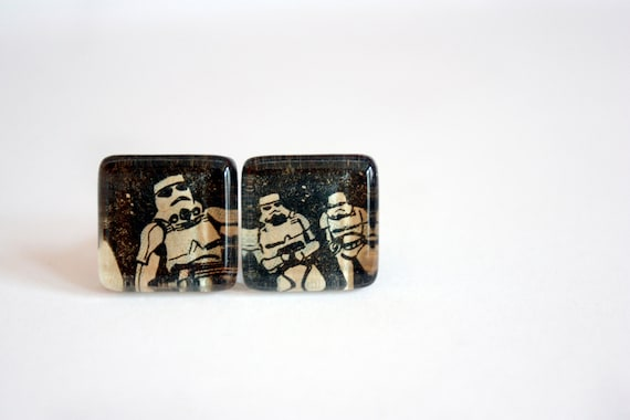 Recycled vintage comic book puzzle cuff links