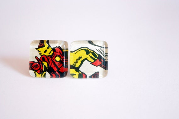 Recycled vintage comic book puzzle cufflinks IRON MAN
