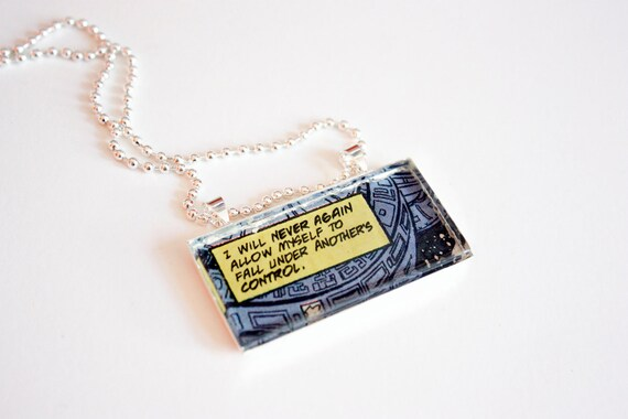NEVER AGAIN Recycled vintage comic book necklace