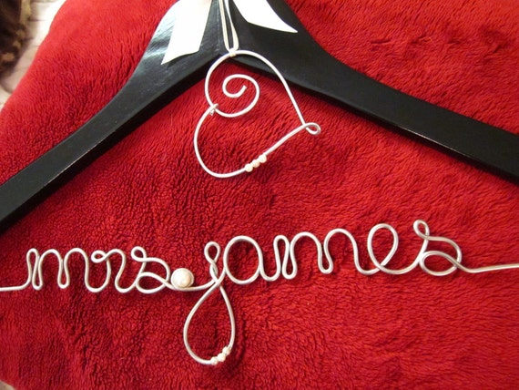 Personalized Wedding Dress Hanger in BLACK with Wire Heart Charm and Ribbon