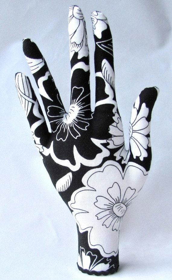Jewelry Holder Display Black and White Zinnia Fabric HAND-Stand