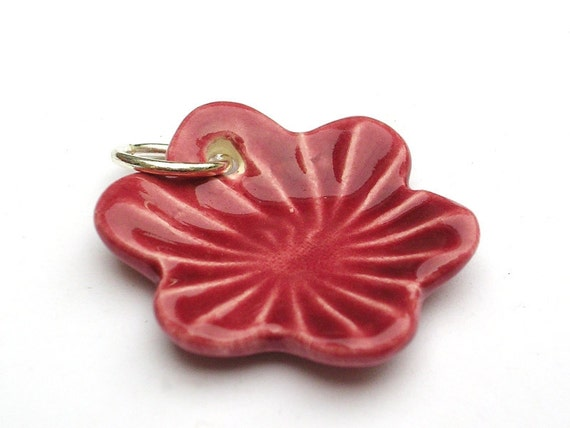 Ceramic flower pendant in cherry red - handmade