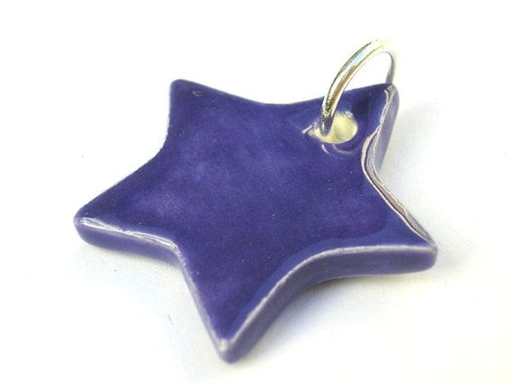 Purple star pendant with silver plated jump loop - handmade pottery