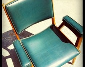 Teal Blue Mid Century Modern Chair : FREE SHIPPING