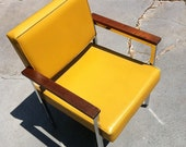 Sleek Dijon and Wood Lounge Chair