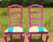 Hand painted Magenta Ladder Backs with New Kokka Echino Cotton BlendUpholstery
