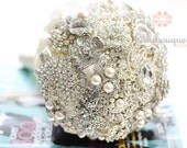 Bouquet Made of Rhinestone Brooches MEDIUM Size Heirloom Jeweled Bouquet Custom Order Deposit