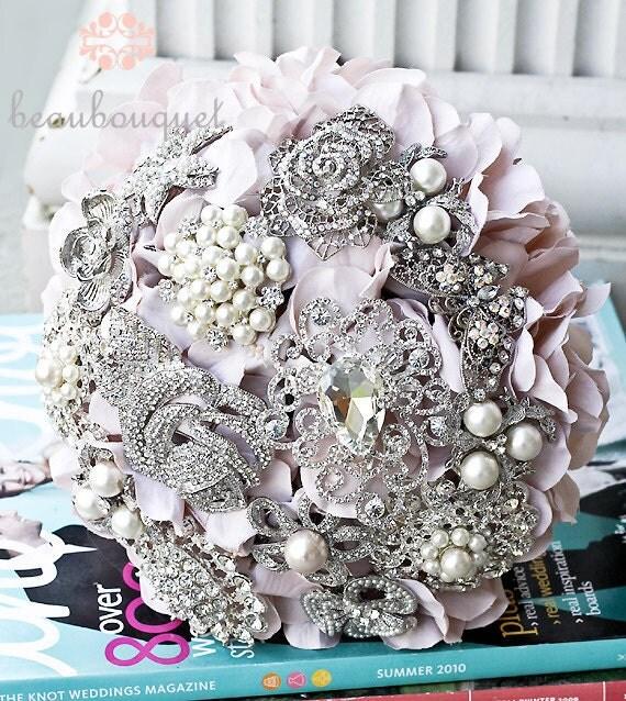Deposit Brooch Jeweled Bridal Bouquet MEDIUM Size Rhinestone Bridal Bouquet Custom Made