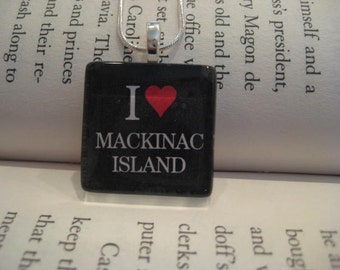 Mackinac Island, Michigan Necklace with Silver Chain, Mackinac, Mackinac Island, Mackinaw City, Up North Michigan