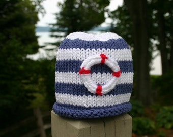 Baby Hat, Sailing Striped Life Preserver Hand Knit Baby Hat, Sailing Baby Hat
