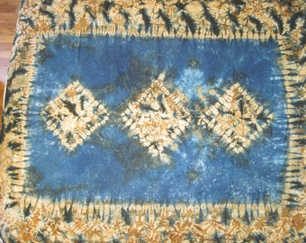 "African handmade cotton batik fabric panel in navy, beige, and browns 48"" X 59"""