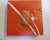 FREE Shipping Code: ABSTHVNSHIP, 3x3 Orange Abstract Art with mini easel