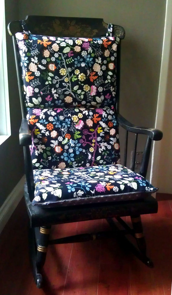Rocking Chair Cushion Black Floral