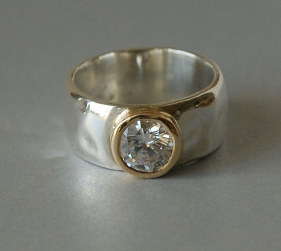 Clear Gemstone Ring Set In 14k Gold Bezel Sterling Silver