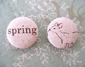 Spring buttons. Woodland buttons. Deer buttons. Nature, animal, fabric buttons. Fabric buttons. Diy
