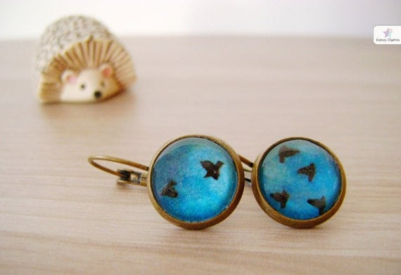 Flying Birds Earrings. Silhouette Vintage Turquoise Blue Earrings. Winter gifts. Christmas gifts Photography Jewelry. Tiny Nature Earrings