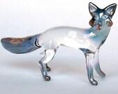 Fox Figurine Hand Blown Glass Gold Crystal Sculpture