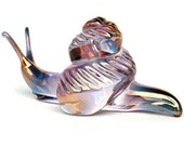 Snail Figurine of Hand Blown Glass and 24K Gold