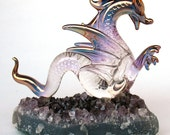 Dragon Serpent Figurine Blown Glass on Amethyst Crystal