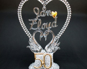50th Fiftieth Personalized Anniversary Wedding Cake Topper