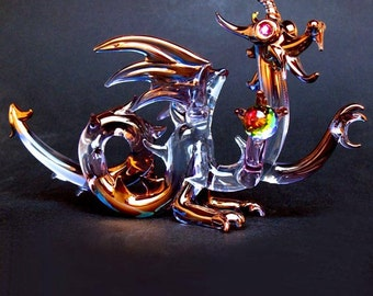 Dragon Medieval Hand Blown Glass Figurine Crystal Gold
