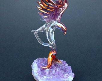 Eagle Figurine Sculpture Blown Glass Amethyst Crystal
