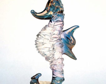 Sea Horse Seahorse Figurine Hand Blown Glass Coral